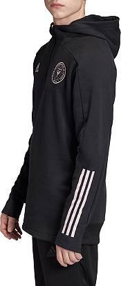 adidas Men's Inter Miami CF Travel Black Quarter-Zip Pullover Shirt product image