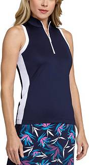 Tail Women's Extended Size Mock Zip Racerback Sleeveless Golf Polo product image