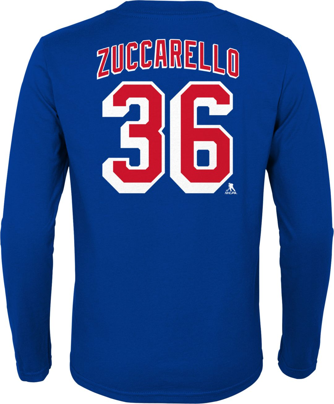 new arrival 51d46 640a7 NHL Youth New York Rangers Mats Zuccarello #36 Royal Long Sleeve Player  Shirt