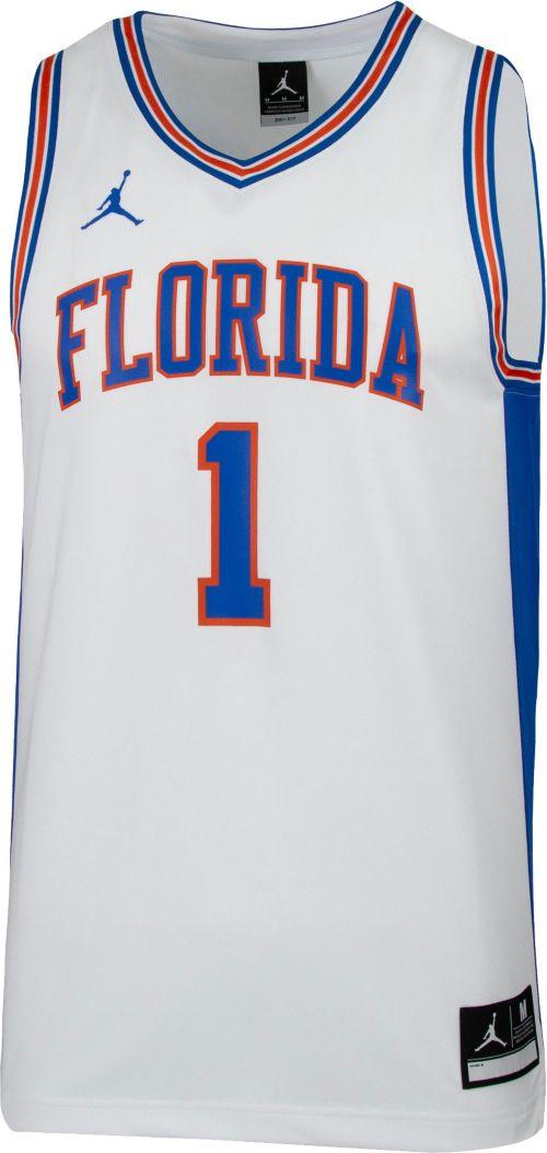 6bac2f095dc37c Jordan Men s Florida Gators  1 Retro Replica Basketball White Jersey ...