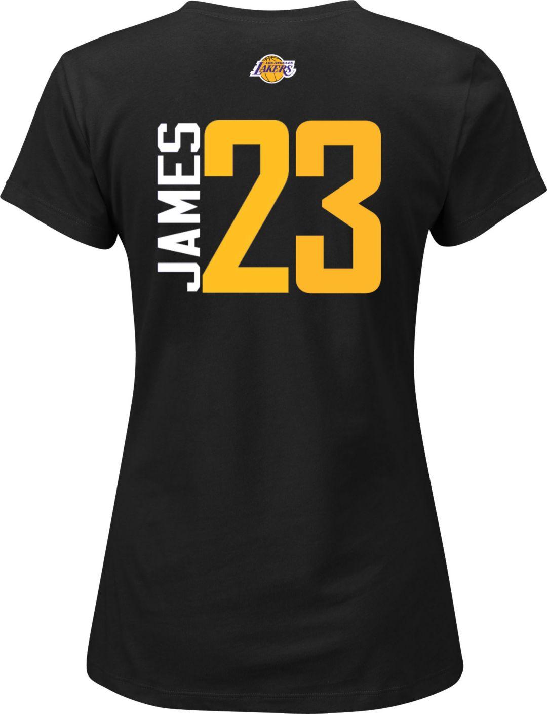 watch c9532 288a4 Majestic Women's Los Angeles Lakers LeBron James #23 Black V-Neck T-Shirt