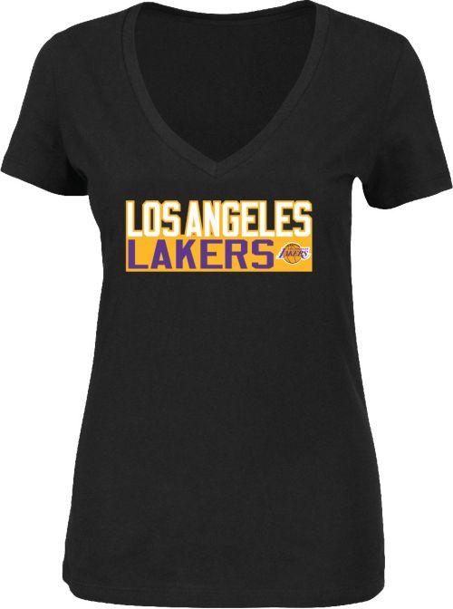 Majestic Women s Los Angeles Lakers LeBron James  23 Black V-Neck T ... 12fe85cfd6