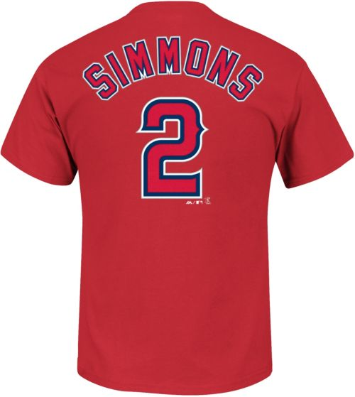 96dfbf806 Majestic Men s Los Angeles Angels Andrelton Simmons  2 Red T-Shirt ...