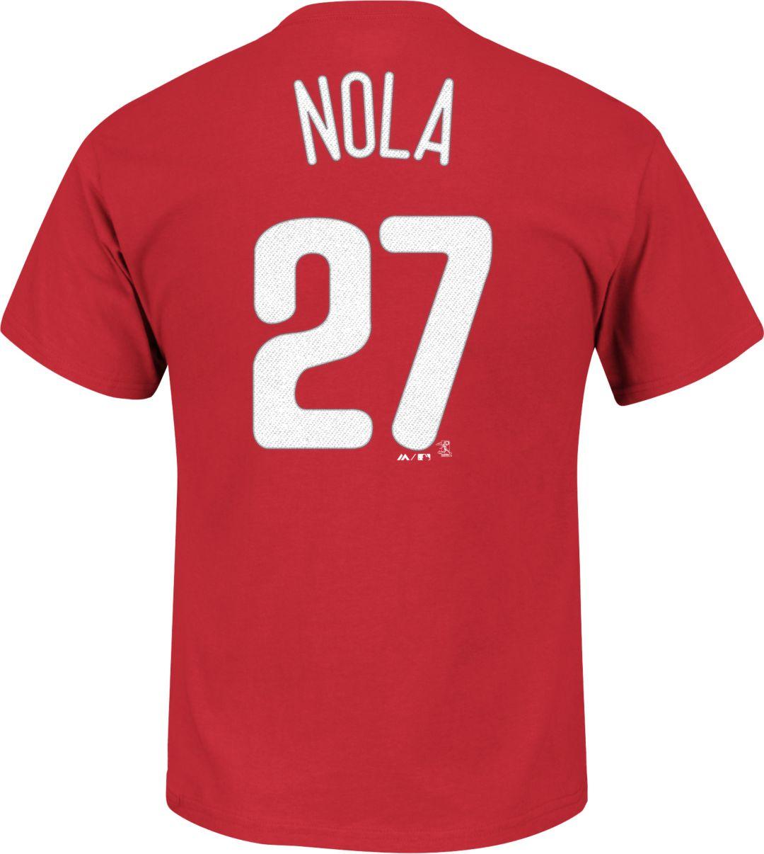 buy online 3217e 500e2 Majestic Men's Philadelphia Phillies Aaron Nola #27 Red T-Shirt