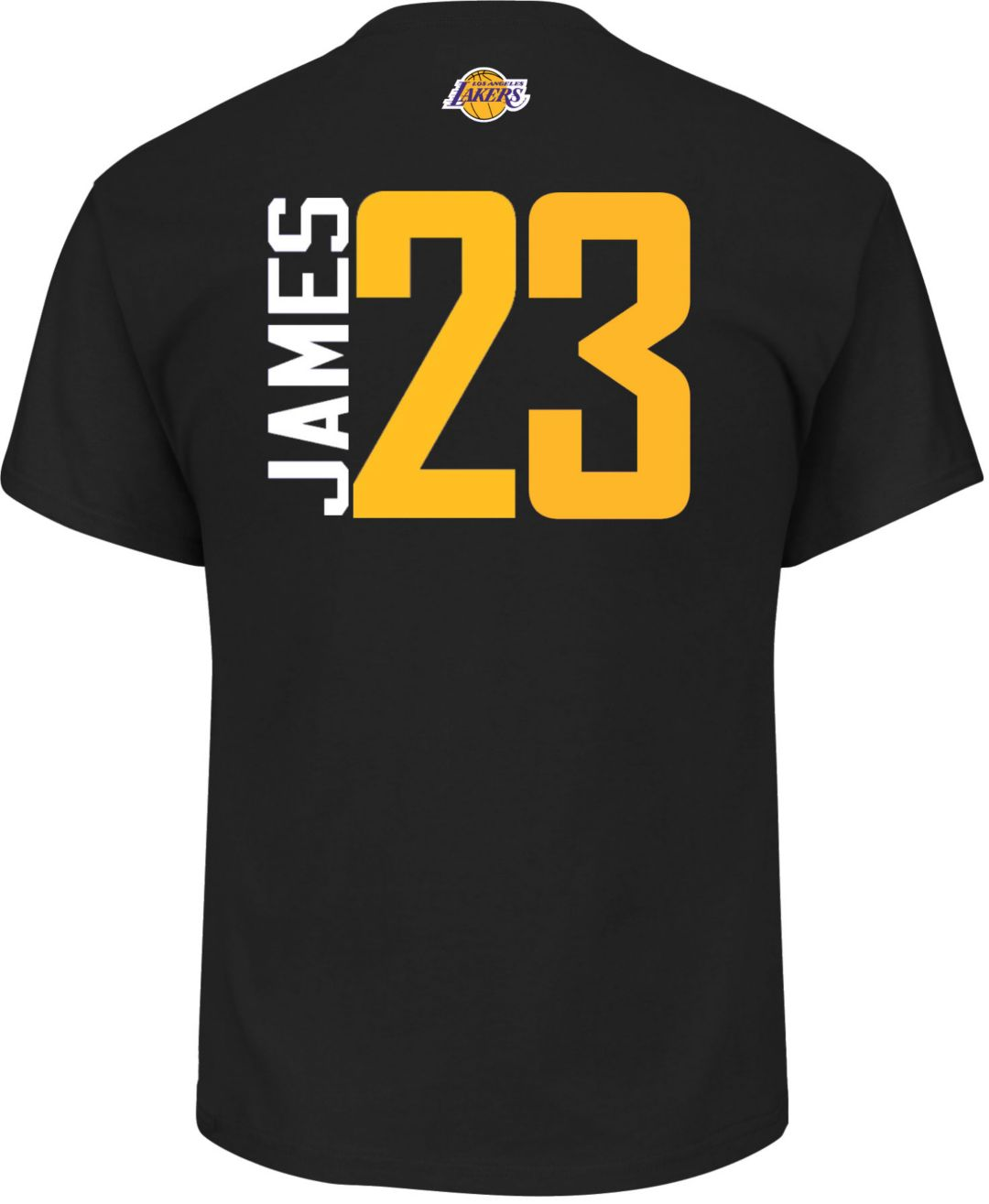 official photos 08e33 8b7ad Majestic Men's Los Angeles Lakers LeBron James #23 Black T-Shirt