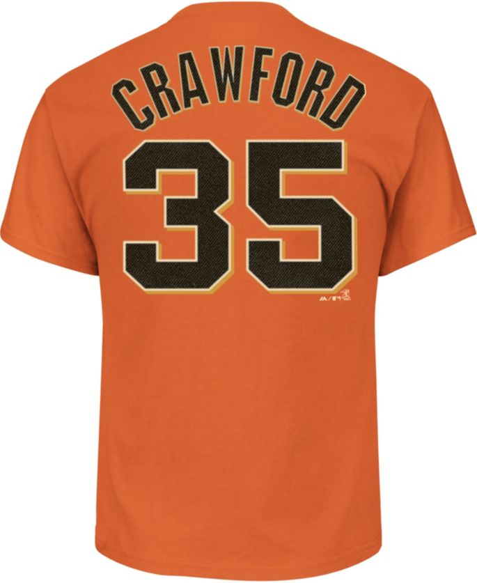separation shoes 5388f 000cd Majestic Men's San Francisco Giants Brandon Crawford #35 Orange T-Shirt