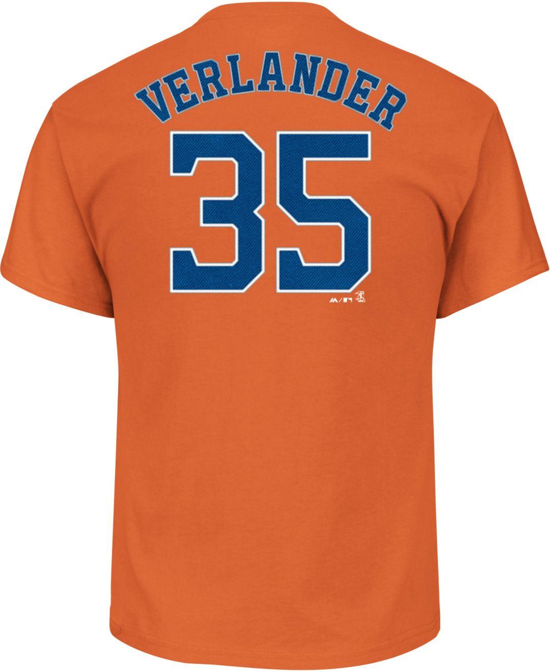 new product 8f7d4 0e771 Majestic Men's Houston Astros Justin Verlander #35 Orange T-Shirt