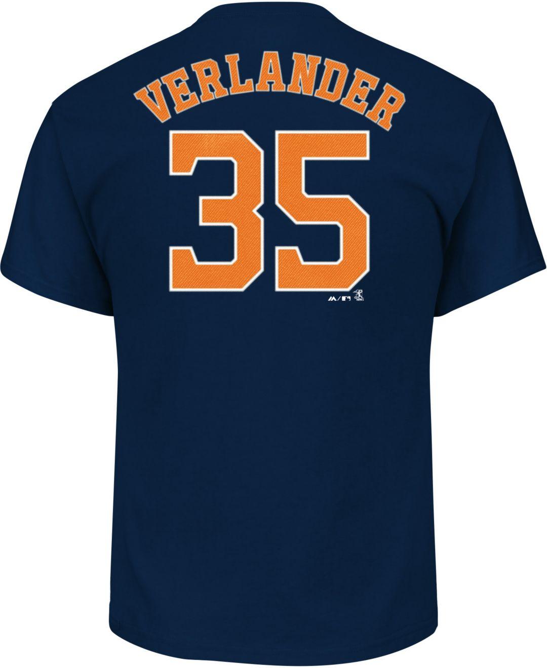 cheaper 850c0 c6c6d Majestic Men's Houston Astros Justin Verlander #35 Navy T-Shirt