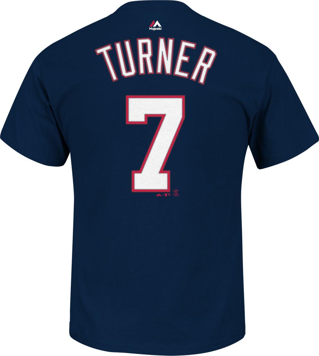 finest selection 8bfd2 420a2 Majestic Men's Washington Nationals Trea Turner #7 Navy T-Shirt