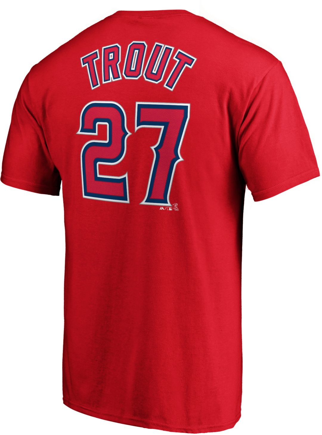 8ca18c1e738 Majestic Men's Los Angeles Angels Mike Trout #27 Red T-Shirt ...