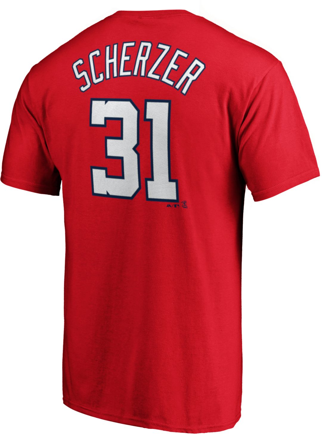 info for 39642 1743c Majestic Men's Washington Nationals Max Scherzer #31 Red T-Shirt