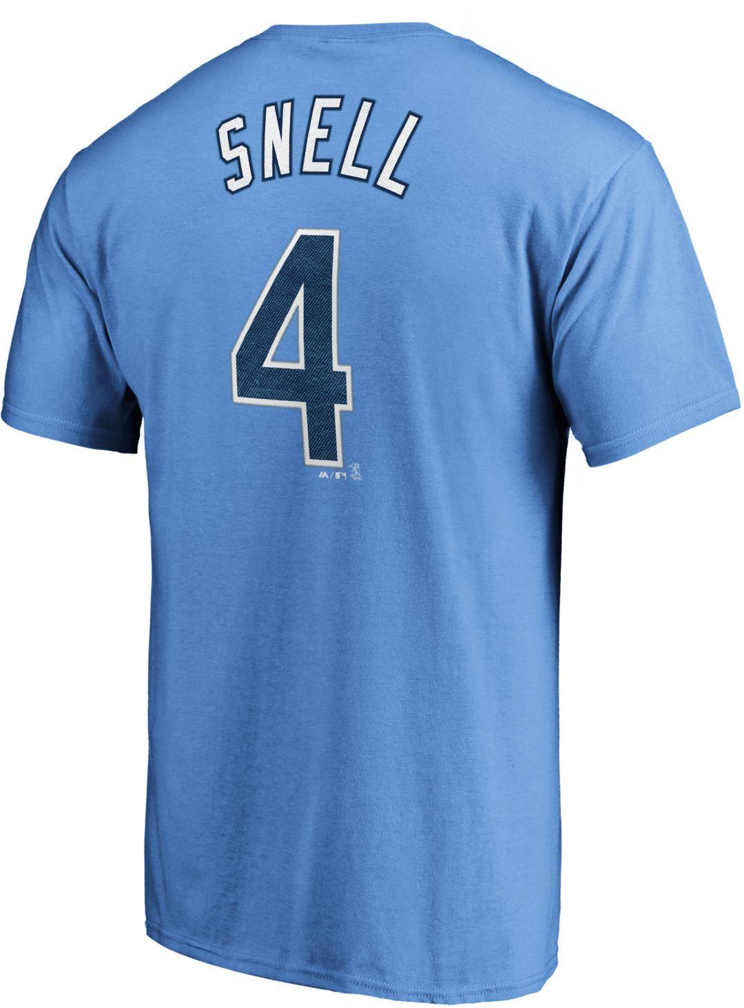 3f326bc36b Majestic Men's Tampa Bay Rays Blake Snell #4 Light Blue T-Shirt