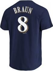 Majestic Men's Milwaukee Brewers Braun #8 Navy T-Shirt product image