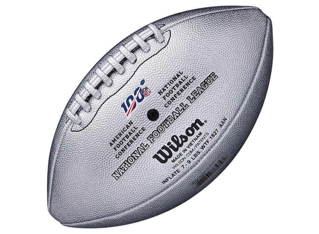 "14f121e2 Wilson NFL 100th ""The Duke"" Platinum Metallic Official Football"