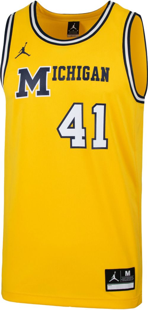 5d1edab80841 Jordan Men s Michigan Wolverines  41 Maize Retro Replica Basketball Jersey
