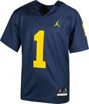 Jordan Boys' Michigan Wolverines #1 Blue Game Football Jersey product image