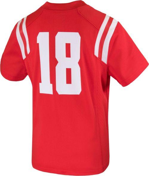 Nike Youth Ole Miss Rebels  18 Red Game Football Jersey  b9e0c3b5b