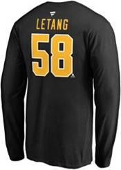 NHL Men's Pittsburgh Penguins Kris Letang #58 Black Long Sleeve Player Shirt product image