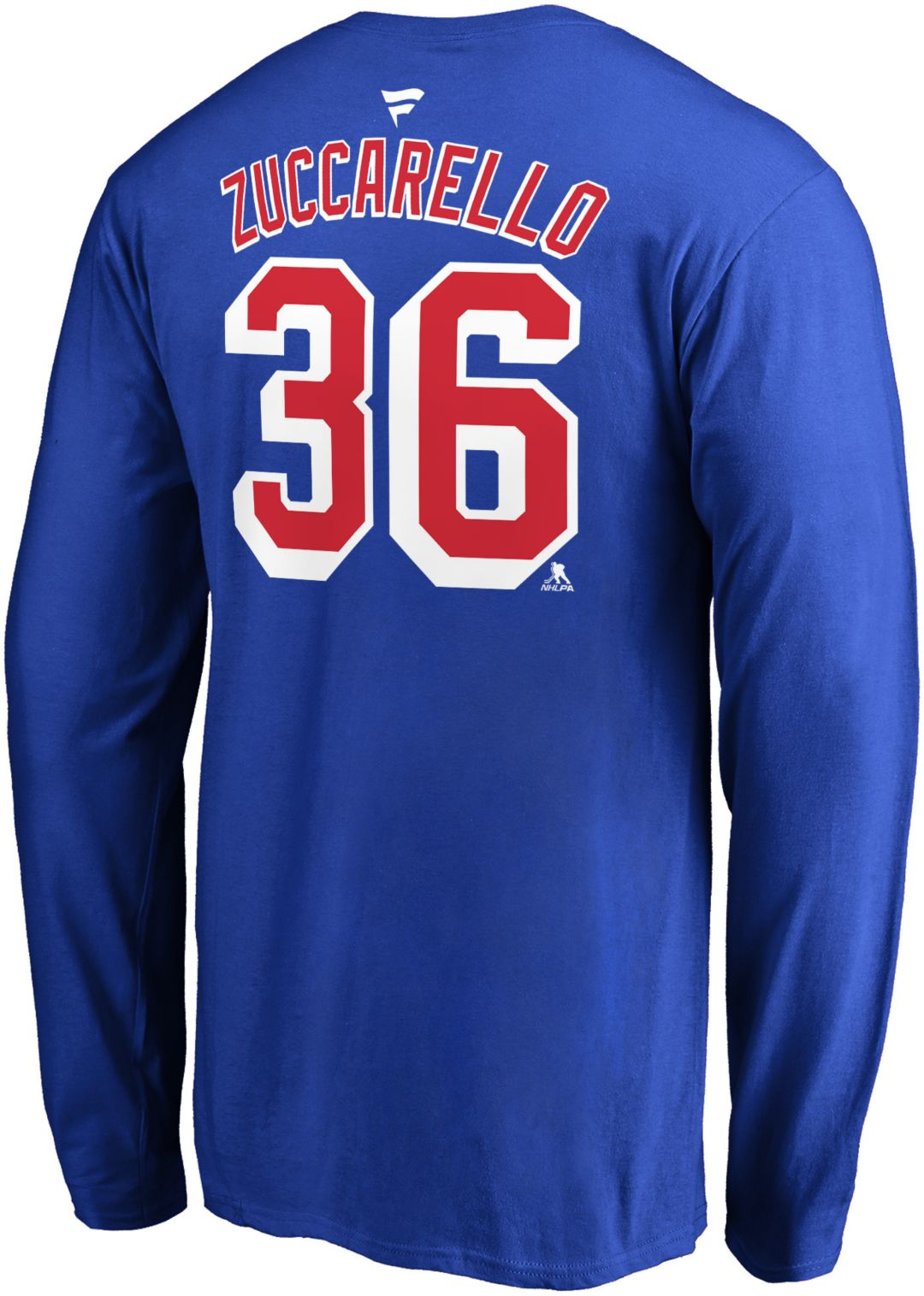 buy popular 7ee3e 937d5 NHL Men's New York Rangers Mats Zuccarello #36 Royal Long Sleeve Player  Shirt