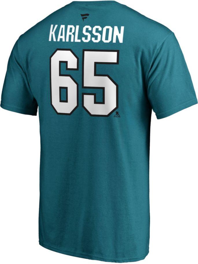 wholesale dealer 4bf05 daea2 NHL Men's San Jose Sharks Erik Karlsson #65 Teal Player T-Shirt