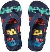 Reef Kids' Little Ahi Navy Palms Stripe Flip Flops product image