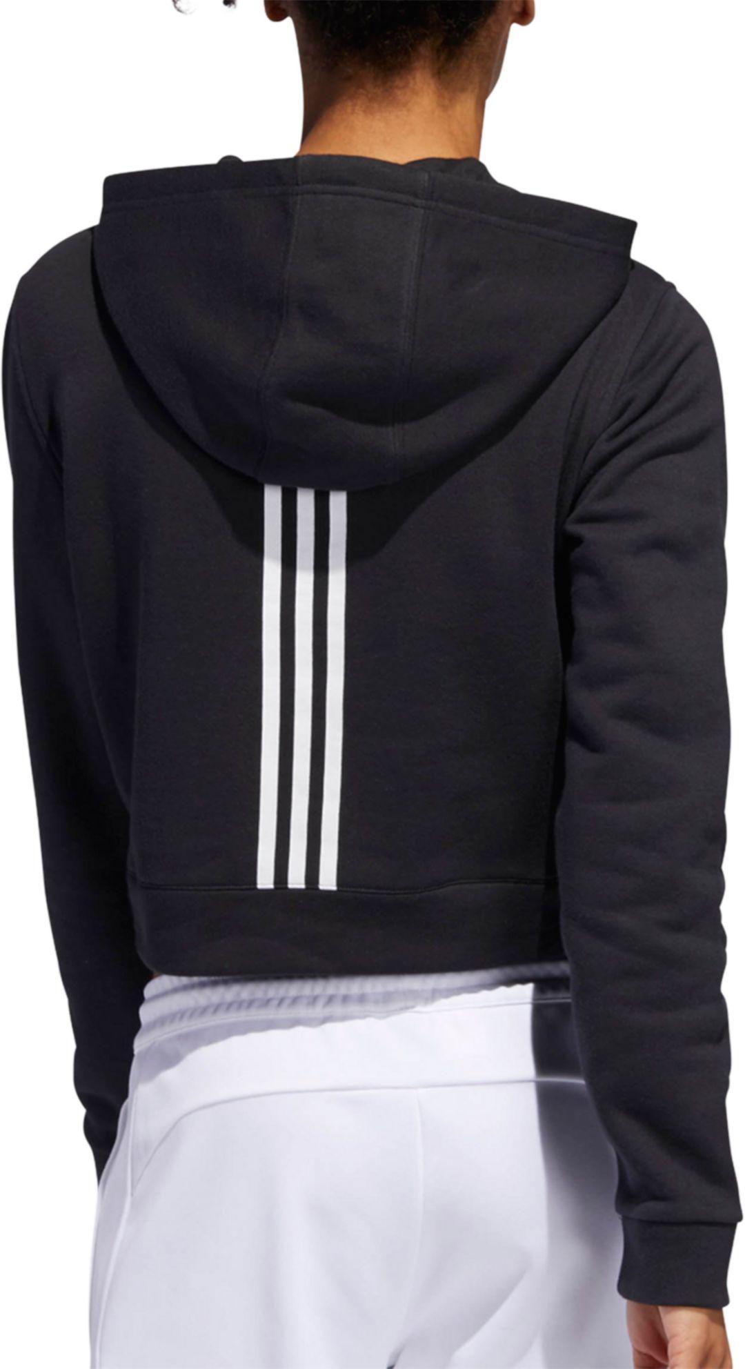 adidas Women's 3 Stripes Cropped Hoodie