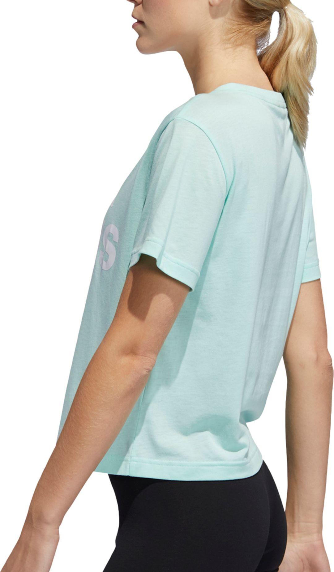 59d30c7896d8a adidas Women's Essentials Oversized Logo Graphic Cropped T-Shirt ...