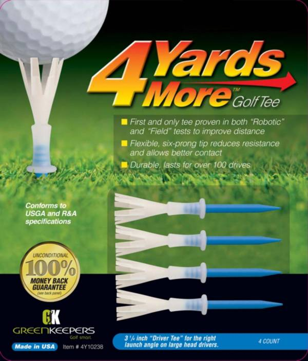 """GreenKeepers 3.25"""" 4 More Yards Golf Tees – 4-Pack product image"""