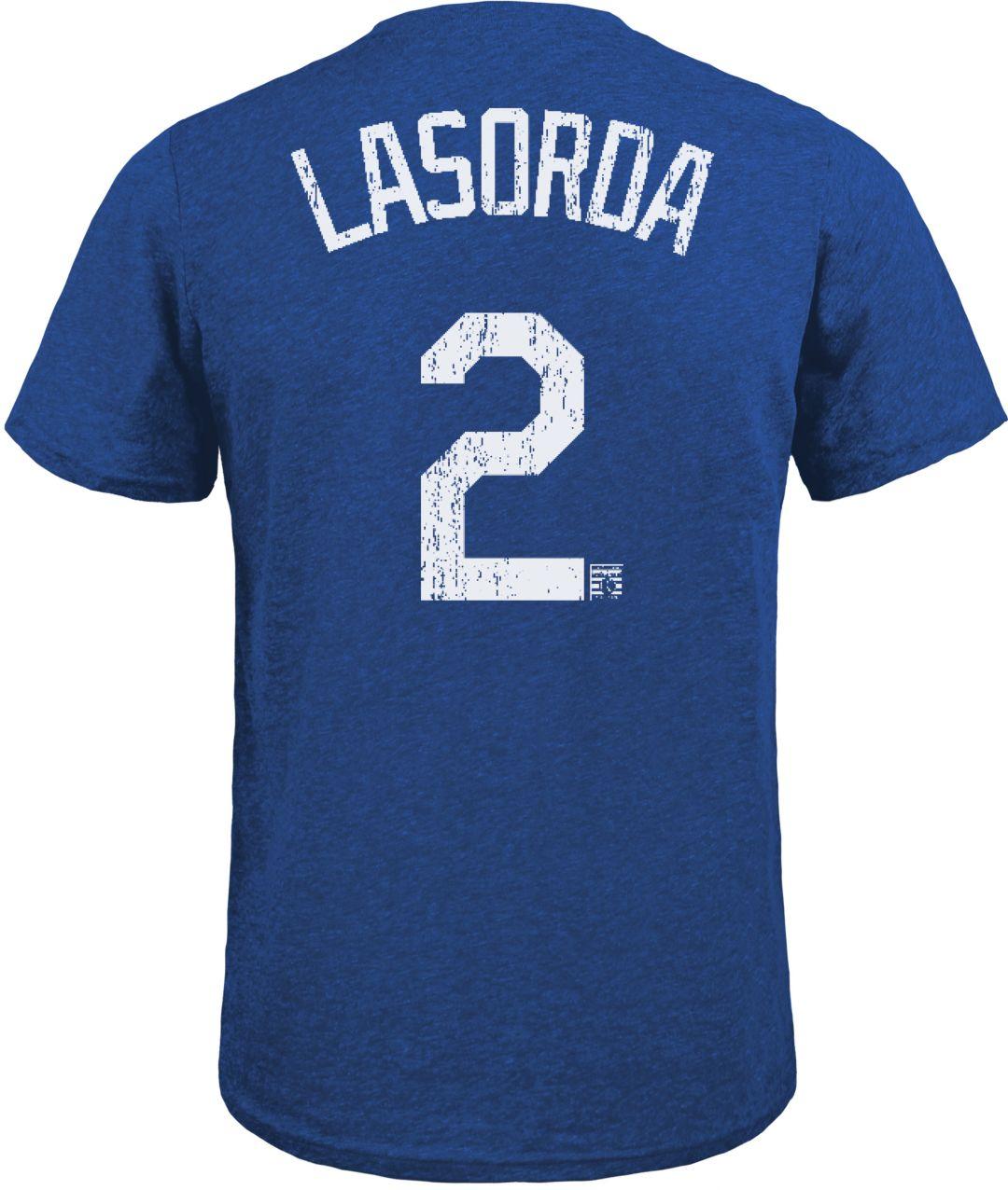 3b4419c4 Majestic Threads Men's Los Angeles Dodgers Tommy Lasorda Tri-Blend T-Shirt