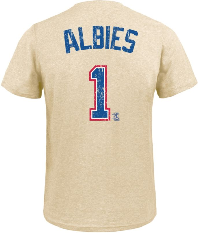 reputable site f4d0f 241ec Majestic Threads Men's Atlanta Braves Ozzie Albies Tri-Blend T-Shirt