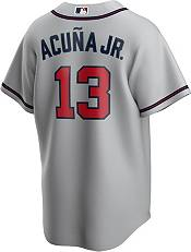 Nike Men's Replica Atlanta Braves Alcuna Jr. #13 Grey Cool Base Jersey product image