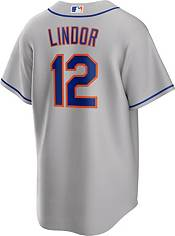 Nike Men's New York Mets Francisco Lindor #12 Grey Cool Base Replica Jersey product image