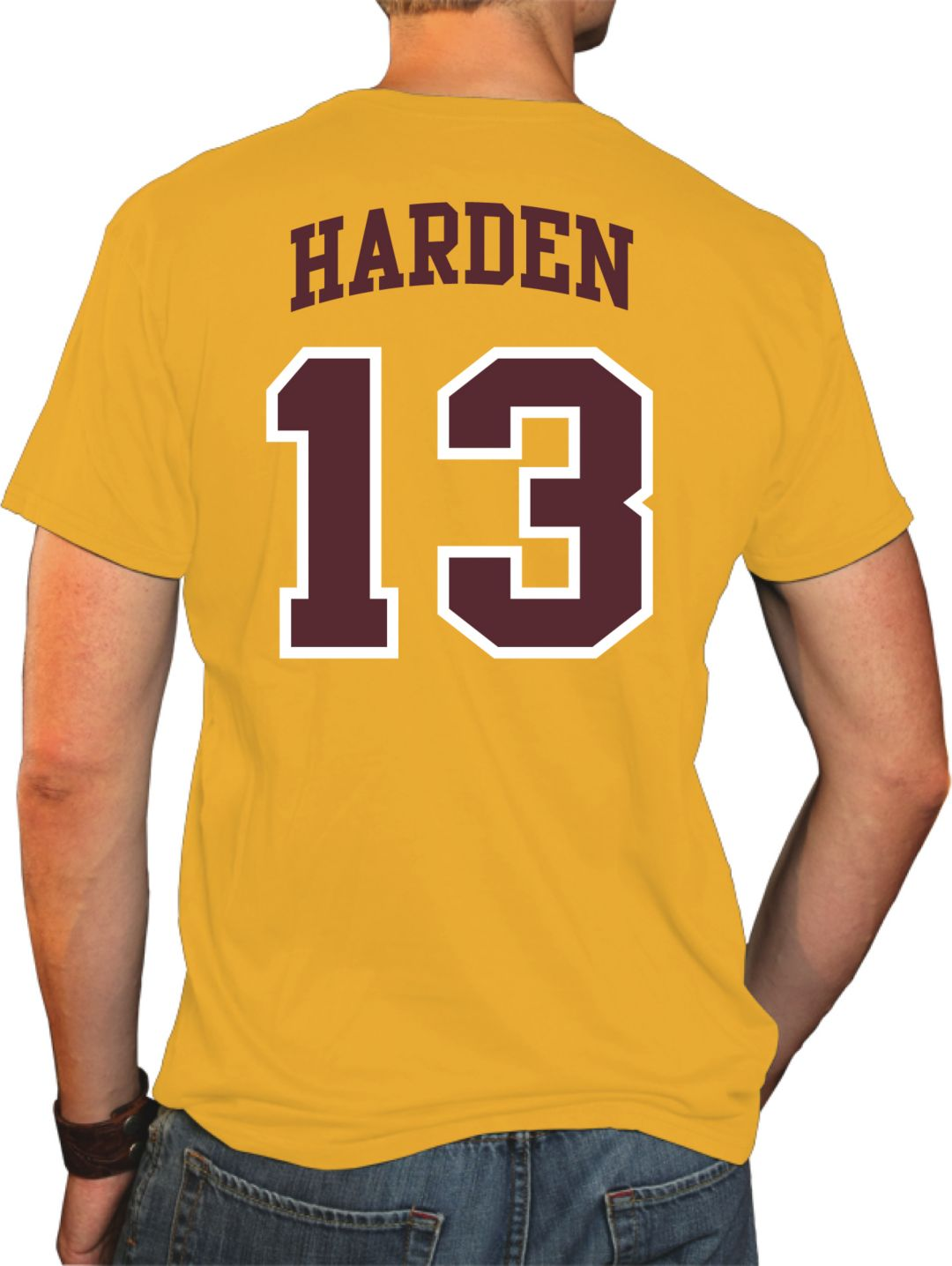 the latest 9b43b ec5ee Original Retro Brand Men's Arizona State Sun Devils James Harden #13 Gold  Basketball Jersey T-Shirt