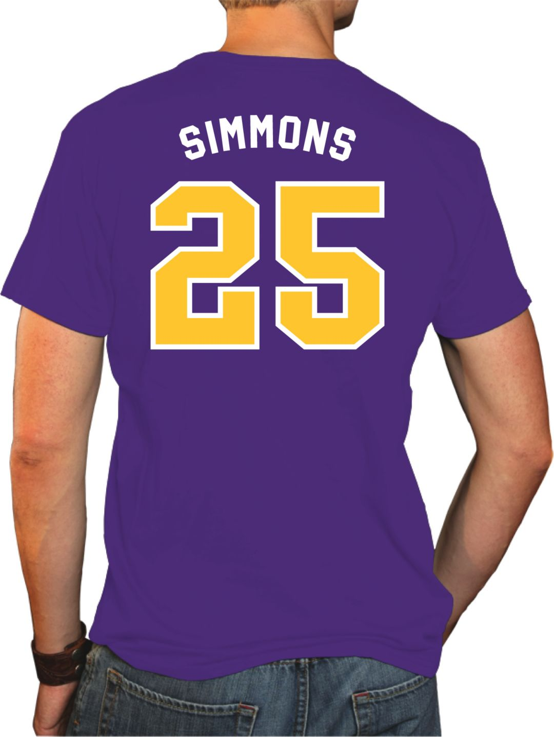 new product 8c06f 77b62 Original Retro Brand Men's LSU Tigers Ben Simmons #25 Purple Basketball  Jersey T-Shirt