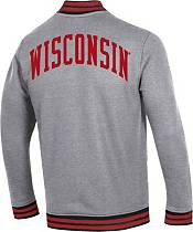 Under Armour Men's Wisconsin Badgers Grey 'CFB150' Double-Knit Quarter-Zip Shirt product image