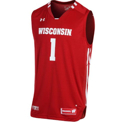 Under Armour Men s Wisconsin Badgers  1 Red Replica Basketball ... 65b0bbcb14c