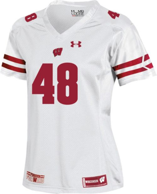 Under Armour Women s Wisconsin Badgers  48 Replica Football White Jersey.  noImageFound. Previous f28fb84f3