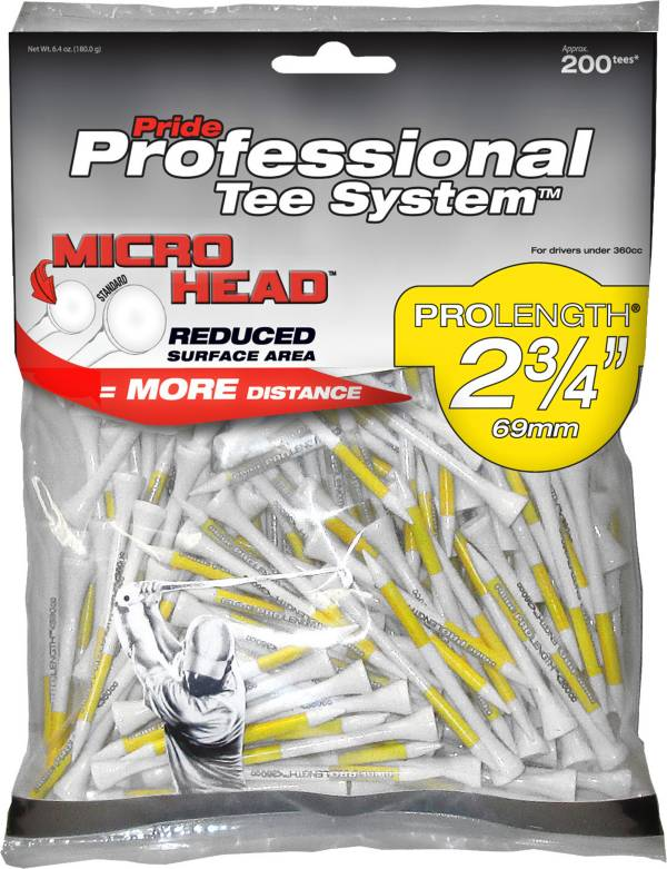 Pride PTS Micro Head 2 3/4'' White Golf Tees - 200 Pack product image