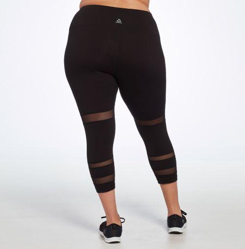 Reebok Women's Plus Size Performance Novelty Stripe Capris