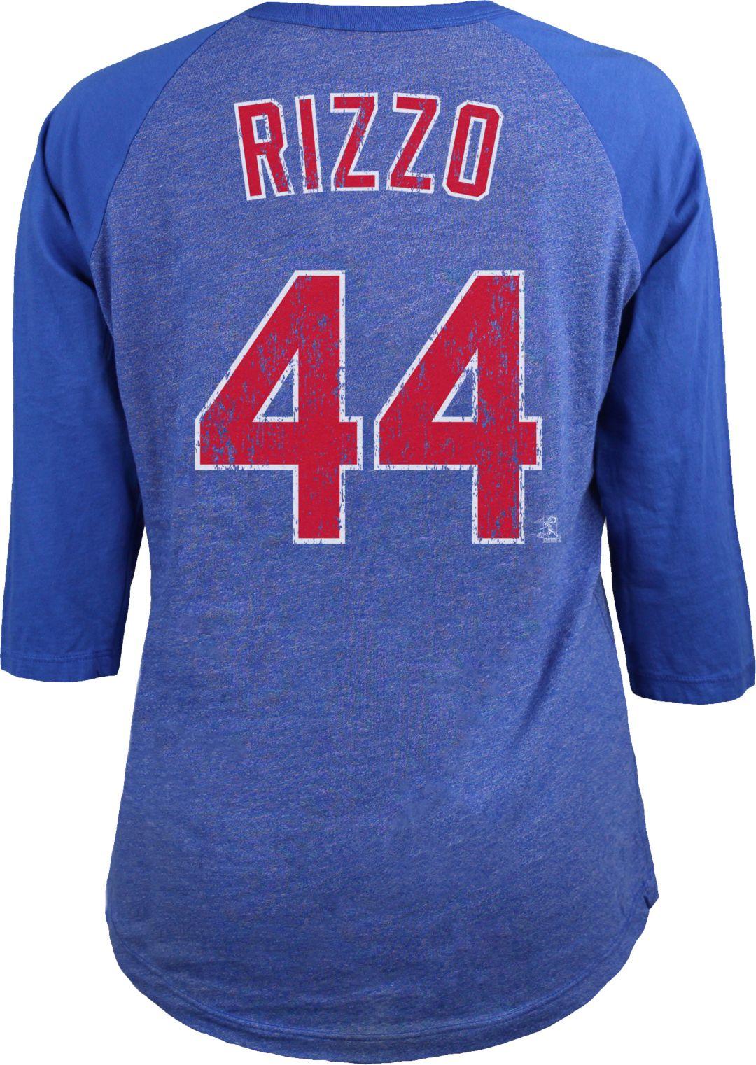 best website f75c8 ba28d Majestic Threads Women's Chicago Cubs Anthony Rizzo #44 Raglan Royal  Three-Quarter Sleeve Shirt