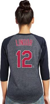 Majestic Threads Women's Cleveland Indians Francisco Lindor #12 Raglan Navy Three-Quarter Sleeve Shirt product image