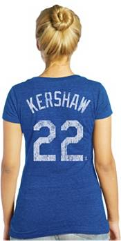 Majestic Threads Women's Los Angeles Dodgers Clayton Kershaw Royal V-Neck T-Shirt product image