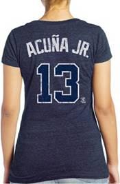 Majestic Threads Women's Atlanta Braves Ronald Acuña Navy V-Neck T-Shirt product image