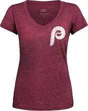 Majestic Threads Women's Philadelphia Phillies Bryce Harper Maroon V-Neck T-Shirt product image