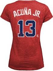 Majestic Threads Women's Atlanta Braves Ronald Acuna #13 Red V-Neck T-Shirt product image