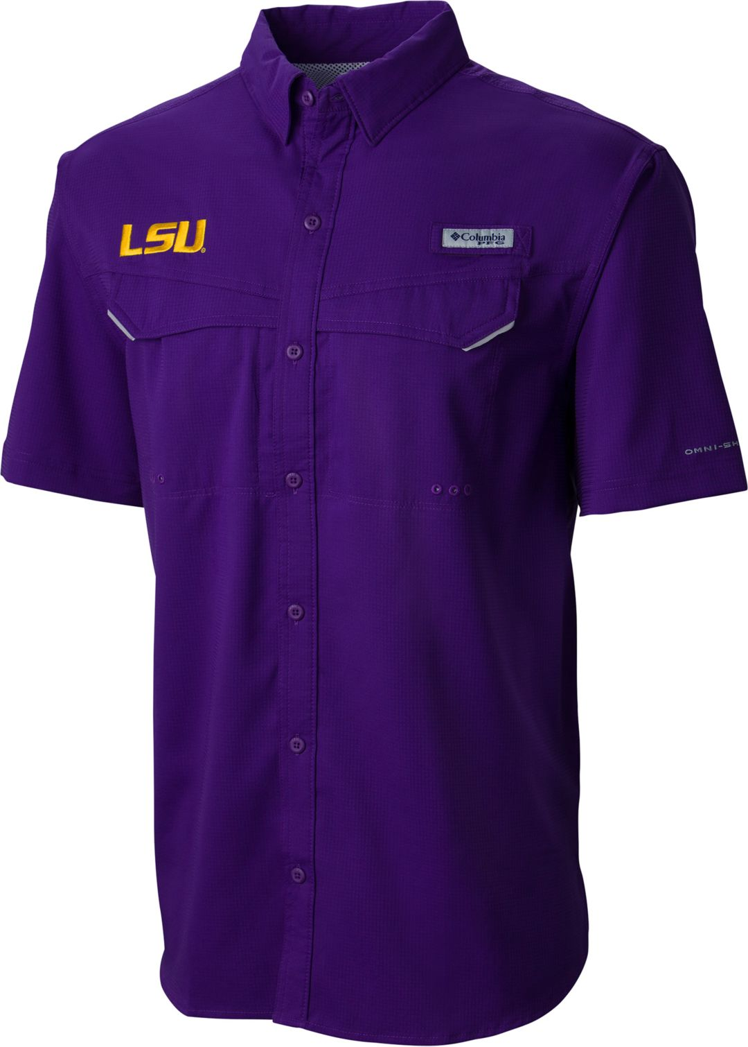 0be149a6c87 Columbia Men's LSU Tigers Purple Low Drag Offshore Performance Shirt ...