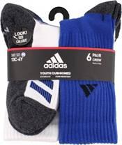 adidas Youth Cushioned Angle Stripe Crew Socks – 6 Pack product image