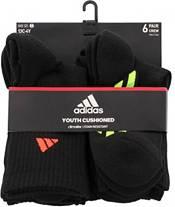 adidas Kids' Cushioned Stripe Crew Socks - 6 Pack product image