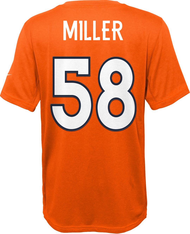 sports shoes 1c8e6 66693 Nike Youth Denver Broncos Von Miller #58 Orange T-Shirt