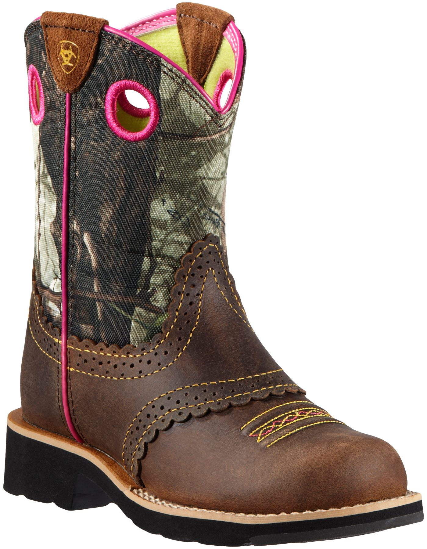 Ariat Girls' Fatbaby Cowgirl Camo Western Boots